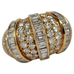 Baguette & Round Brilliant Cut Diamond Ring Set in 18K Yellow Gold, 5.55 Carats