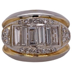 Baguette Round Brilliant Diamond Wide Band Ring 14 Karat Yellow White Gold
