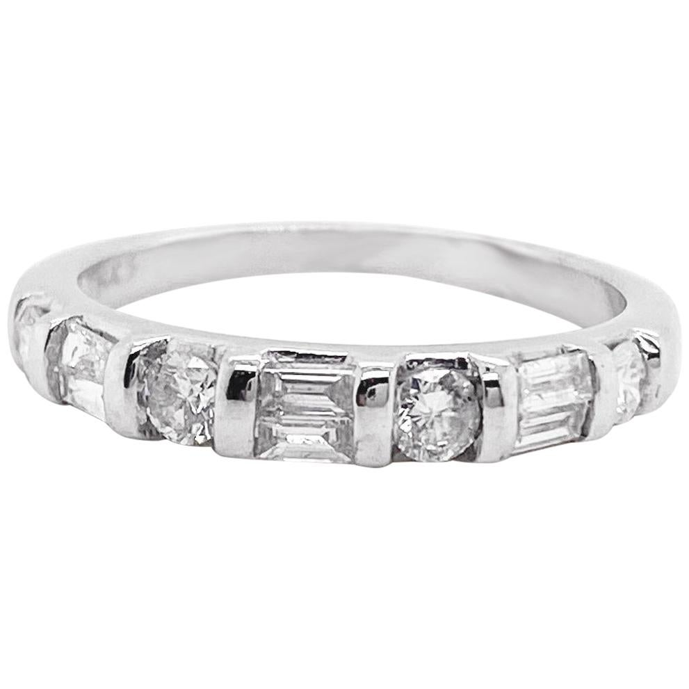 Baguette and Round Diamond Band, White Gold, Stack Band, Wedding Band