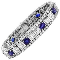 Baguette Round Diamond Oval Blue Sapphire 18 Karat White Gold Tennis Bracelet