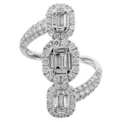 Baguette Round Pavé Set Diamond 18 Karat White Gold Bypass Three Section Ring