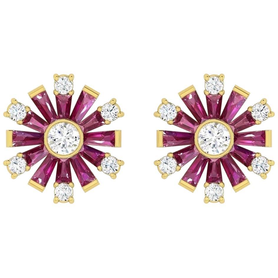 Ruby Diamond 18 Karat Gold Stud Earrings