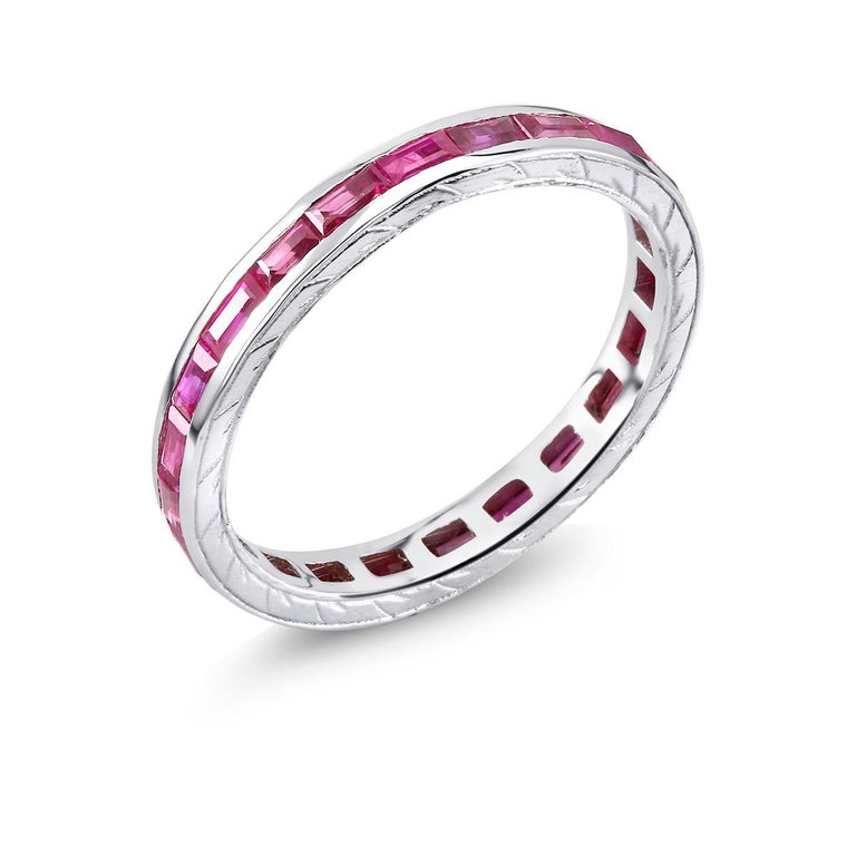 Baguette Ruby Eternity Gold Engraved Band Weighing 1.65 Carat For Sale 1