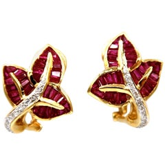 Baguette Ruby Maple Leaf Diamond Gold Earrings w/ Collapsible Posts Omega Backs
