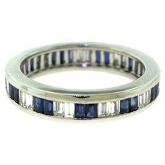 Baguette Sapphire and Diamond White Gold Full Eternity Ring