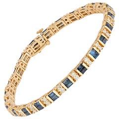 Baguette Sapphire and Round Diamond Line Bracelet