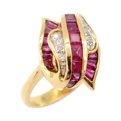 Baguette Vibrant Red Ruby Diamond Fascinator Ring in 18k Yellow Gold