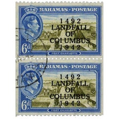 Bahamas 1942 6d Olive-Green and Light Blue