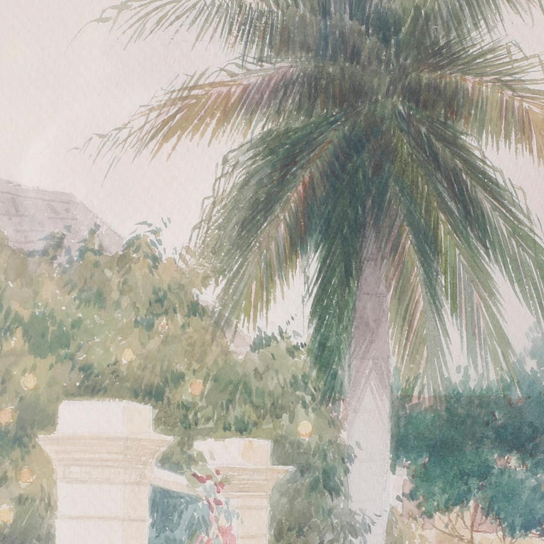 Watercolor painting of a Bahamian street scene possibly in Nassau. Complete with a woman carrying a bundle, a man in a cart, palm trees, house, gates and warm peaceful ambiance. Signed Hartwell Leon Woodcock in the lower left corner.