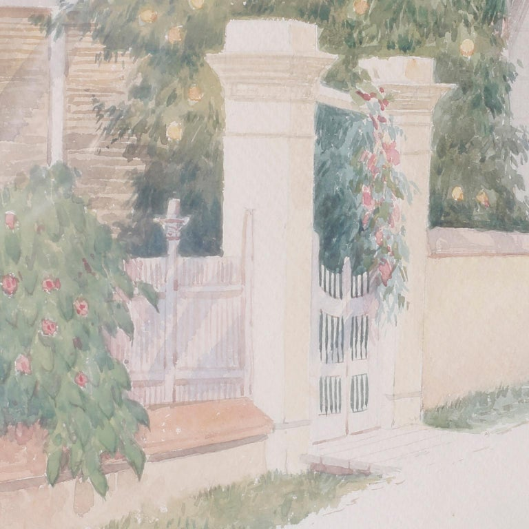 British Colonial Bahamian Street Scene Watercolor Painting by Hartwell Leon Woodcock For Sale