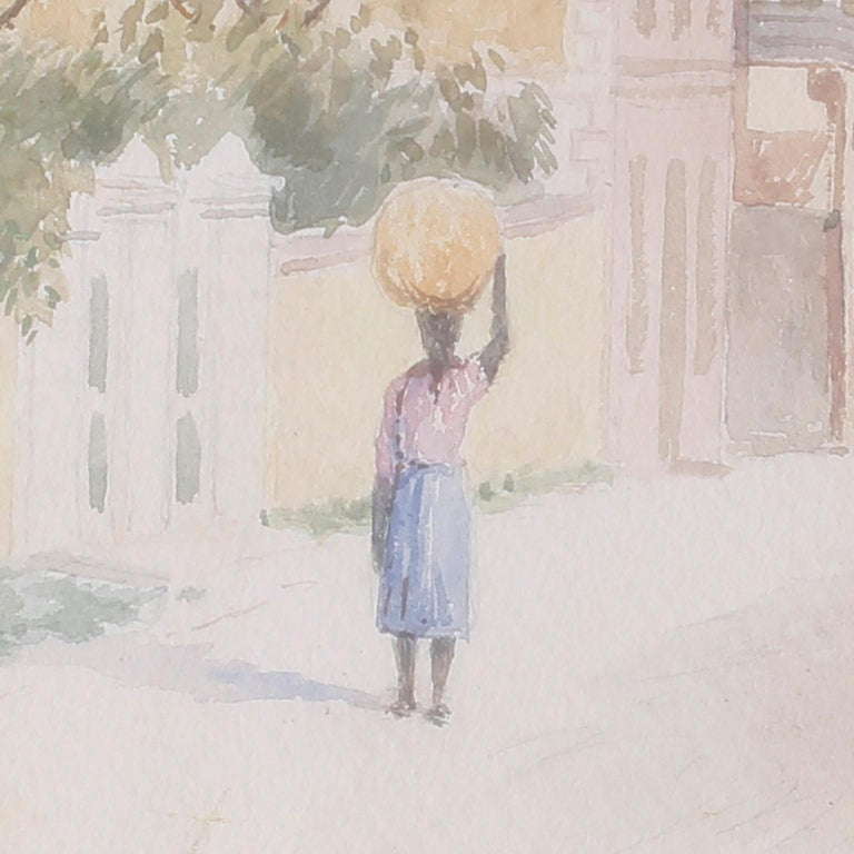 North American Bahamian Street Scene Watercolor Painting by Hartwell Leon Woodcock For Sale