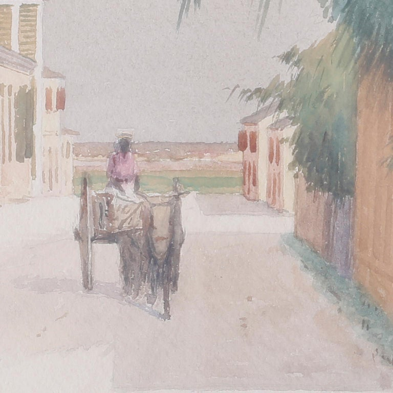 Bahamian Street Scene Watercolor Painting by Hartwell Leon Woodcock In Good Condition For Sale In Palm Beach, FL