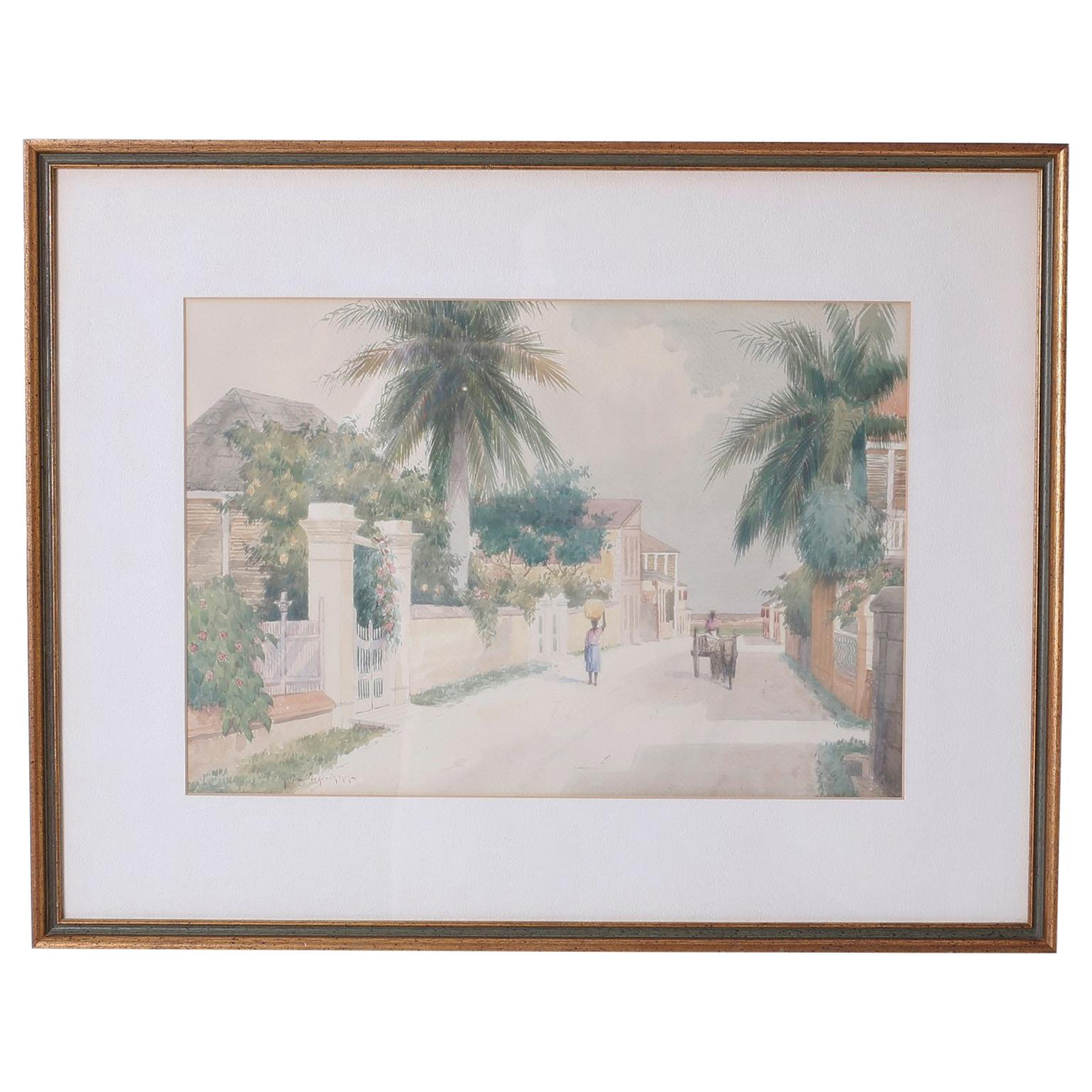 Bahamian Street Scene Watercolor Painting by Hartwell Leon Woodcock