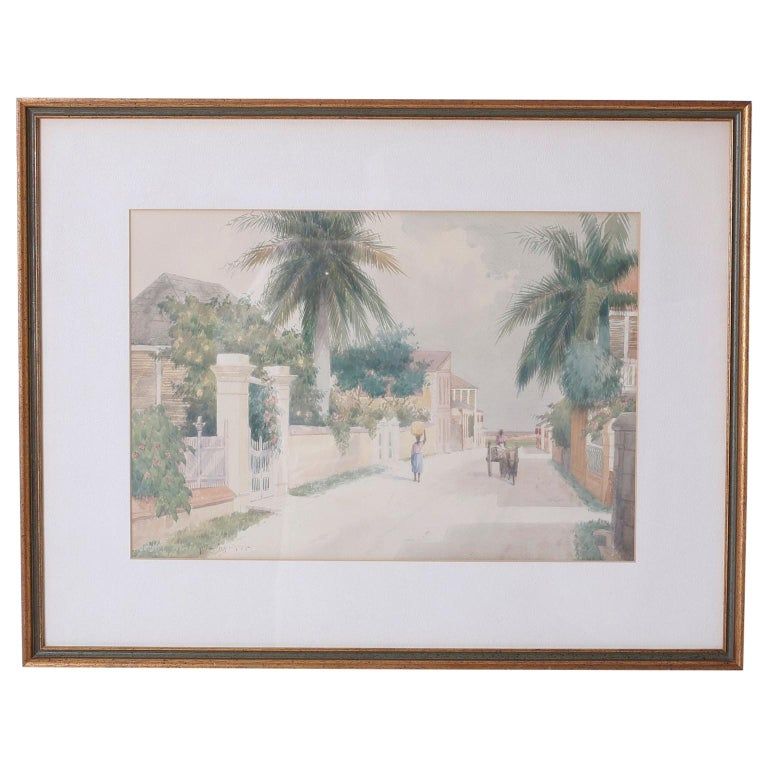 Bahamian Street Scene Watercolor Painting by Hartwell Leon Woodcock For Sale