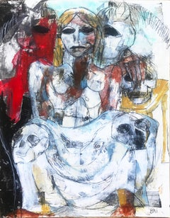 Hel Sitting on the Throne, Mythological Acrylic and Pastel Painting on Paper