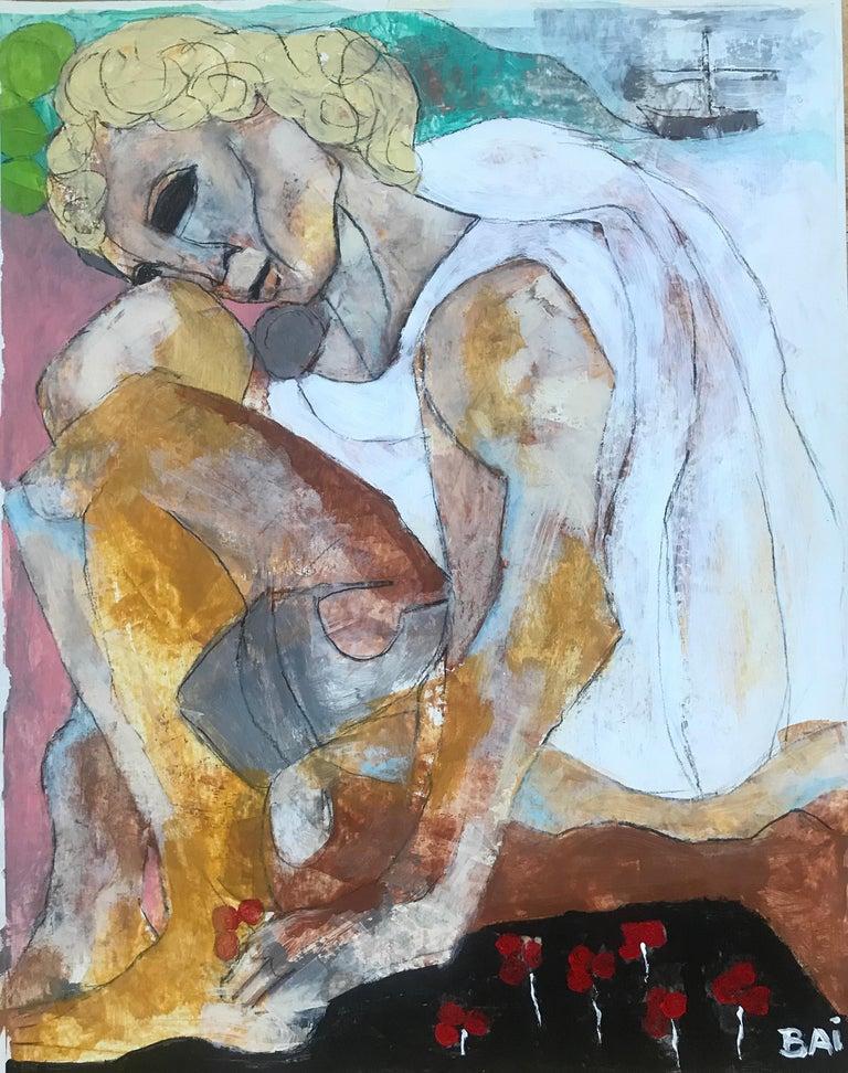 Bai (Carl Karni-Bain) Portrait Painting - Ragvaal Picking Berries, 2017 by Carl Karni-Bain, acrylic, oil stick,