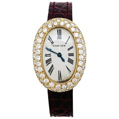 Baignoire Cartier Watch Set with Diamonds on a Leather Strap