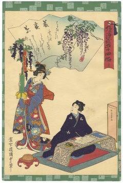 Tale of Genji, Kunisada II, Japanese Woodblock Print, Ukiyo-e, Ikebana, Wisteria