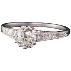 Bailey Bank and Biddle Art Deco Platinum Old Euro Diamond Engagement Ring