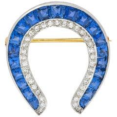 Bailey Bank & Biddles Edwardian Sapphire Diamond Platinum Horseshoe Brooch