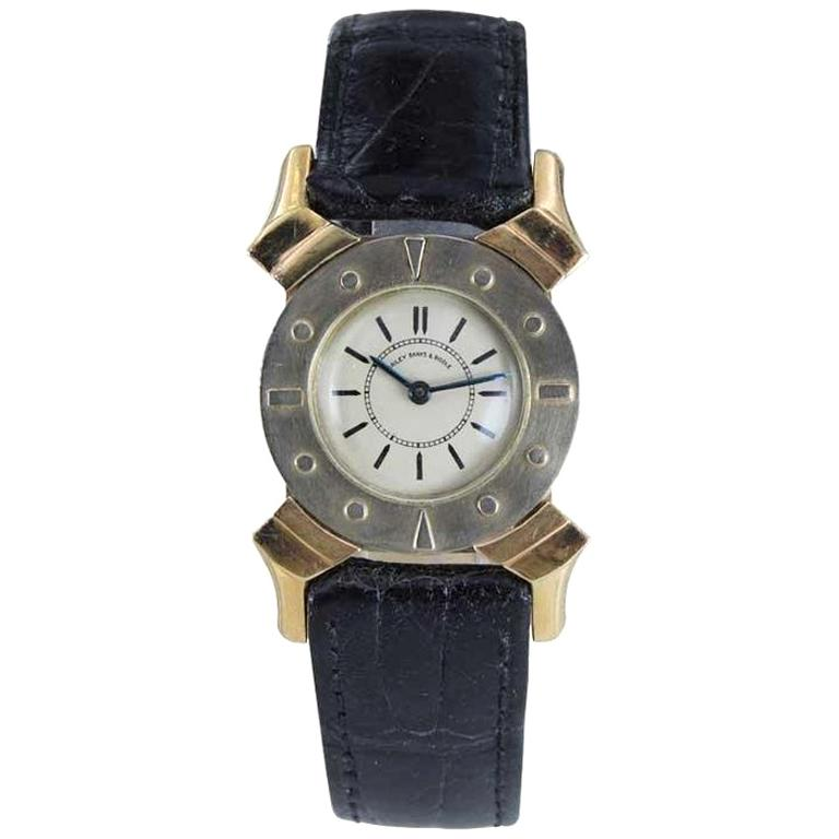 Bailey Banks and Biddle 14 Karat Solid Gold Two-Tone Art Deco Watch, circa 1930s For Sale