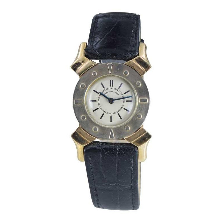 FACTORY / HOUSE: Bailey Banks and Biddle STYLE / REFERENCE: Art Deco METAL / MATERIAL: 14Kt Yellow and White Gold  DIMENSIONS: 40 mm X 27 mm CIRCA: 1930's MOVEMENT / CALIBER: Manual Winding / 17 Jewels / Cal. AS 970 DIAL / HANDS: Silvered with