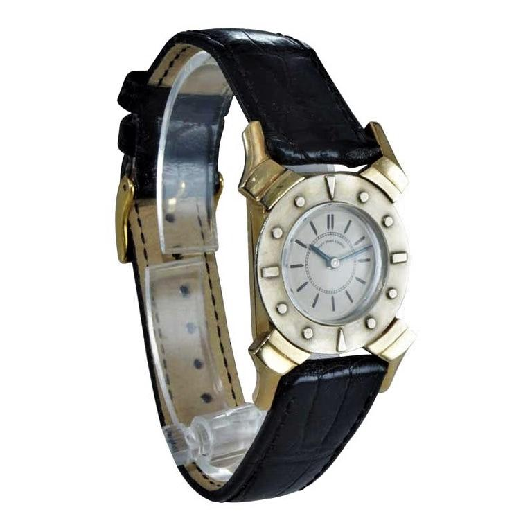 Bailey Banks and Biddle 14 Karat Solid Gold Two-Tone Art Deco Watch, circa 1930s In Excellent Condition For Sale In Venice, CA