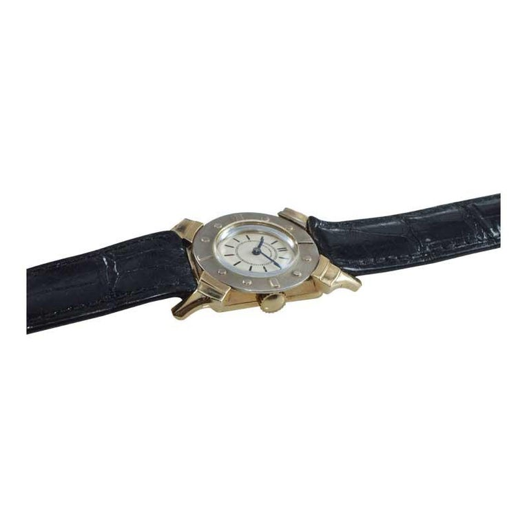 Women's or Men's Bailey Banks and Biddle 14 Karat Solid Gold Two-Tone Art Deco Watch, circa 1930s For Sale