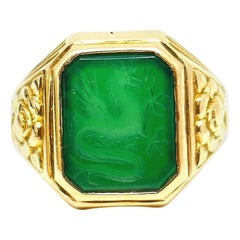 Bailey Banks and Biddle Carved Chrysoprase Yellow Gold Antique Ring