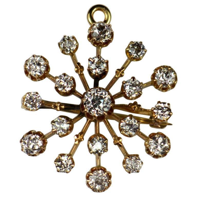 Bailey, Banks and Biddle Diamond Gold Snowflake Brooch Pendant For Sale