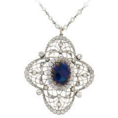 Bailey Banks and Biddle Opal Pendant Necklace on Diamond Platinum Chain