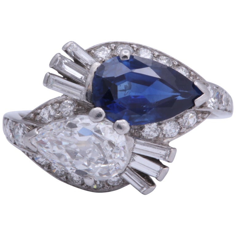Bailey Banks And Biddle Sapphire And Diamond Ring For Sale At 1stdibs