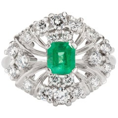 Bailey Banks & Biddle 0.50 Carat Emerald and Diamond Ring in Platinum