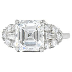 Bailey Banks & Biddle 1940s 4.08 Carat Asscher Diamond Platinum Engagement Ring
