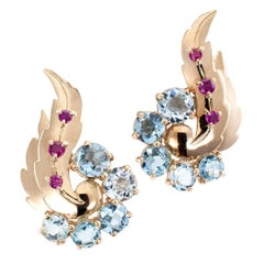 Bailey Banks & Biddle Aquamarine Ruby Gold Retro Clip Earrings