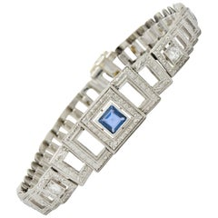 Bailey Banks & Biddle Art Deco 1.30 Carat Sapphire Diamond Platinum Bracelet