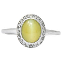 Bailey Banks & Biddle Art Deco Cat's Eye Chrysoberyl Diamond Platinum Ring