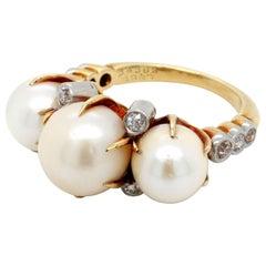 Bailey, Banks & Biddle Edwardian Natural Freshwater Pearl and Diamond Ring GIA