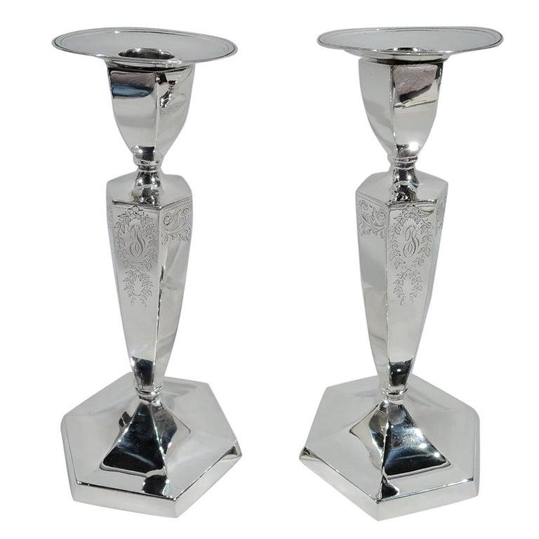Bailey Banks & Biddle Edwardian Regency Sterling Silver Candlesticks For Sale