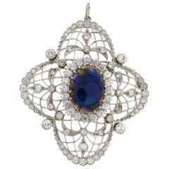 Bailey Banks & Biddle Opal Diamond Platinum Pendant Edwardian, 1910s