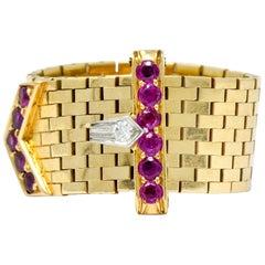 Bailey Banks & Biddle Retro 0.60 Carat Ruby Diamond 14 Karat Gold Buckle Ring