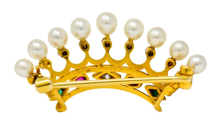 Round Cut Bailey Banks & Biddle Ruby Emerald Pearl Diamond 18 Karat Gold Crown Brooch For Sale