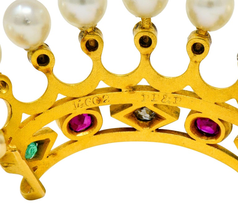 Bailey Banks & Biddle Ruby Emerald Pearl Diamond 18 Karat Gold Crown Brooch In Excellent Condition For Sale In Philadelphia, PA
