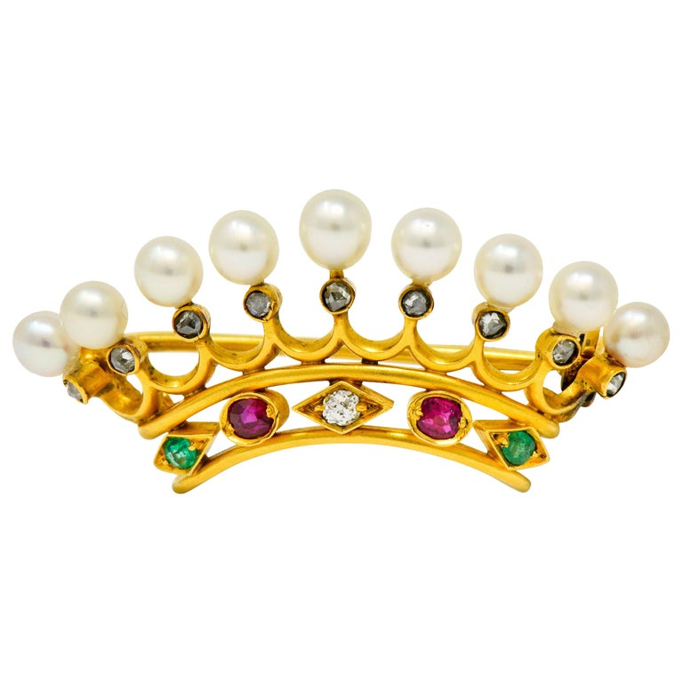 Bailey Banks & Biddle Ruby Emerald Pearl Diamond 18 Karat Gold Crown Brooch For Sale