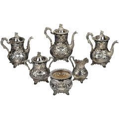 Bailey & Co. American Coin Silver Tea Set with Figural Chinoiserie Finials