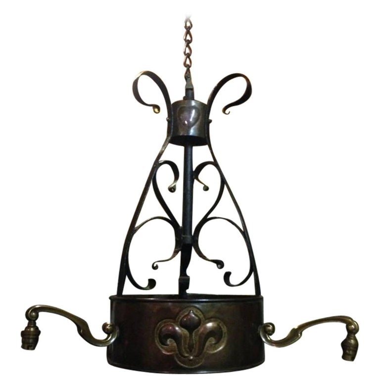 M H Baillie Scott, An Arts & Crafts Handmade Copper & Wrought Iron Ceiling Light For Sale