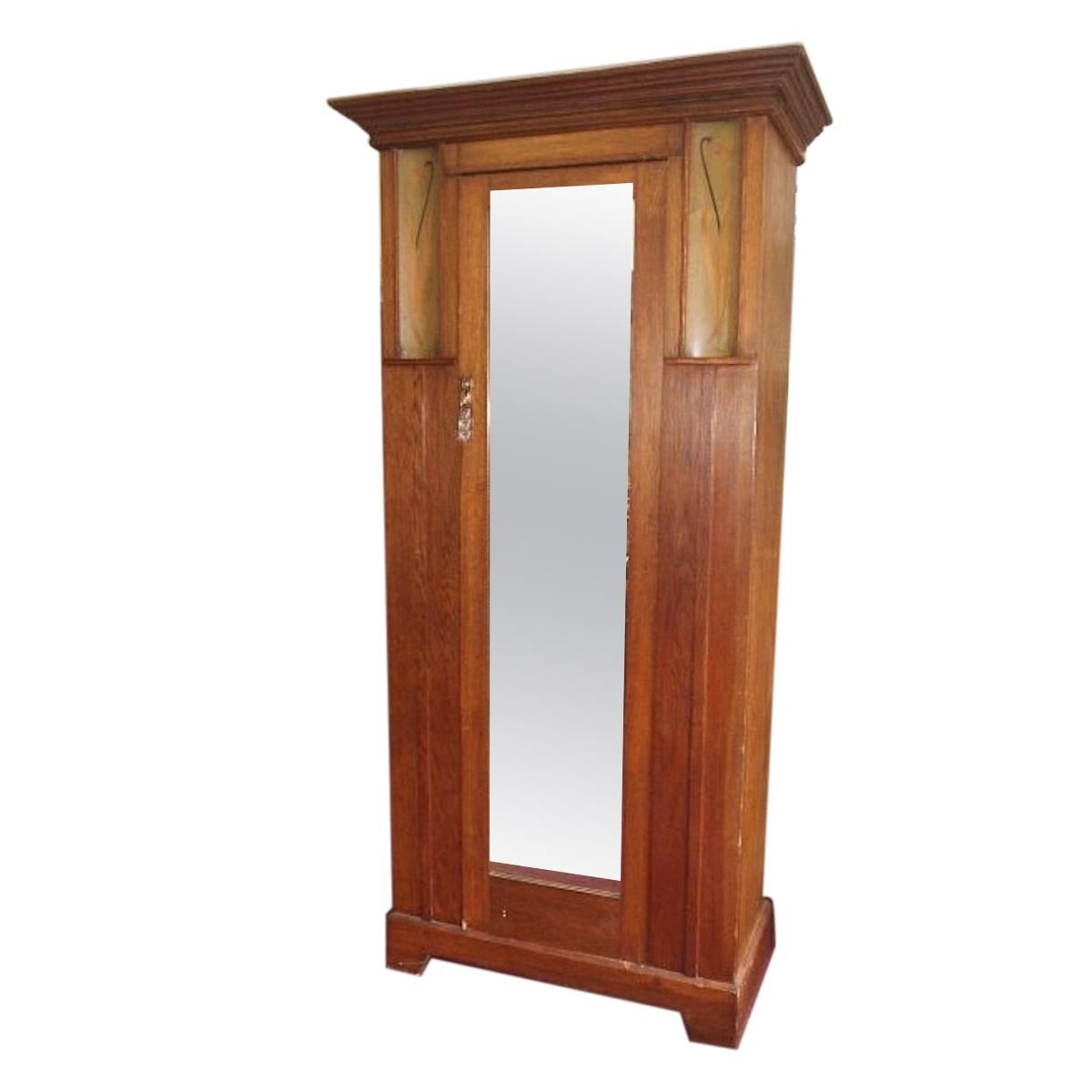 Baillie Scott Style of, Arts & Crafts Oak Armoire Wardrobe with Daffodil Inlays