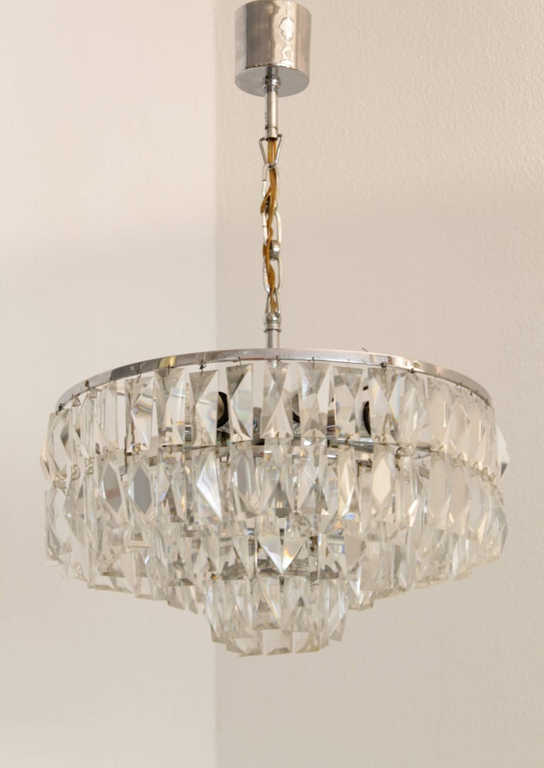 Crystal and chrome chandelier made by Bakalowits and Sohne, Austria, circa 1960s. 2 chandeliers available.