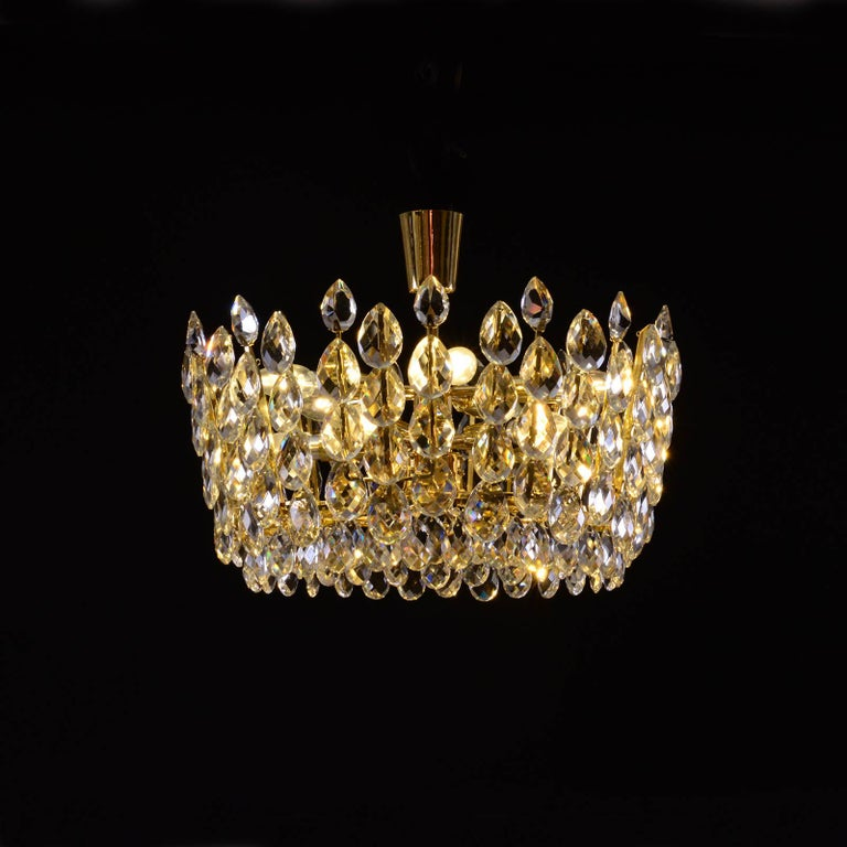 A very modern chandelier, with beautiful hand-cut glass-stones.