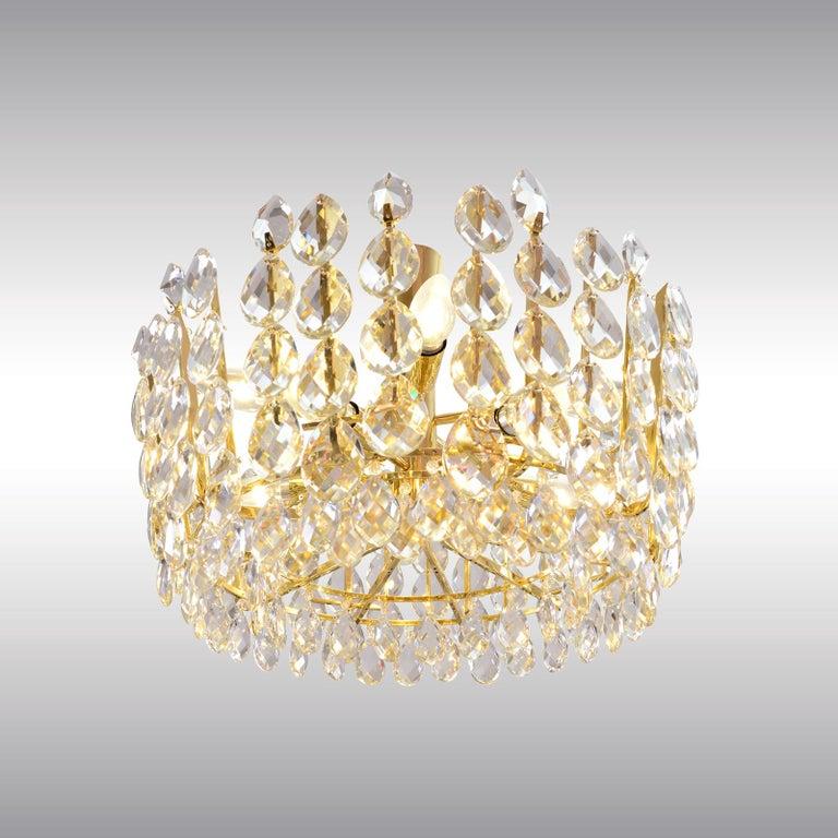 Austrian Original Bakalowits Crystal Glass Chandelier Mid Century Modern 1960ies For Sale